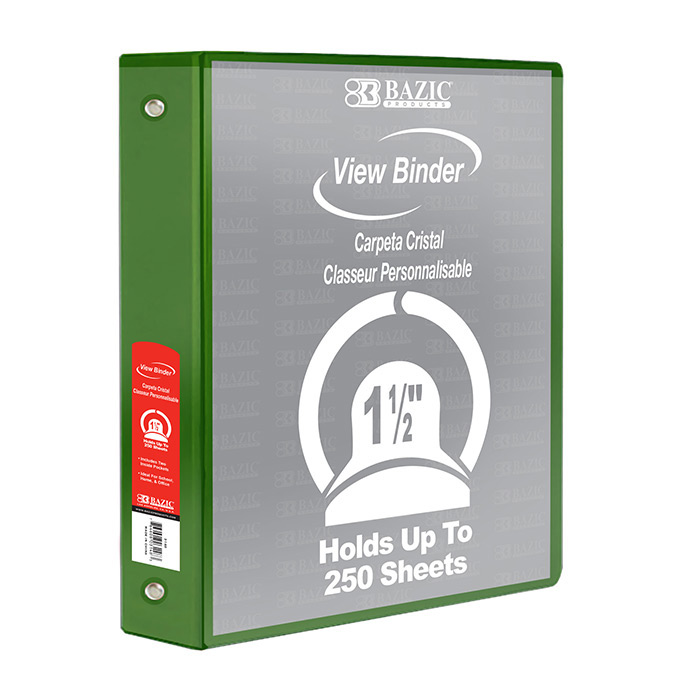 "BAZIC 1.5"" Green 3-Ring View Binder W/2-Pockets, Case Of"