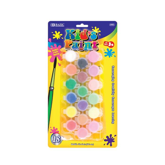 BAZIC 18 Color 6ml Kid's Paint w/ Brush