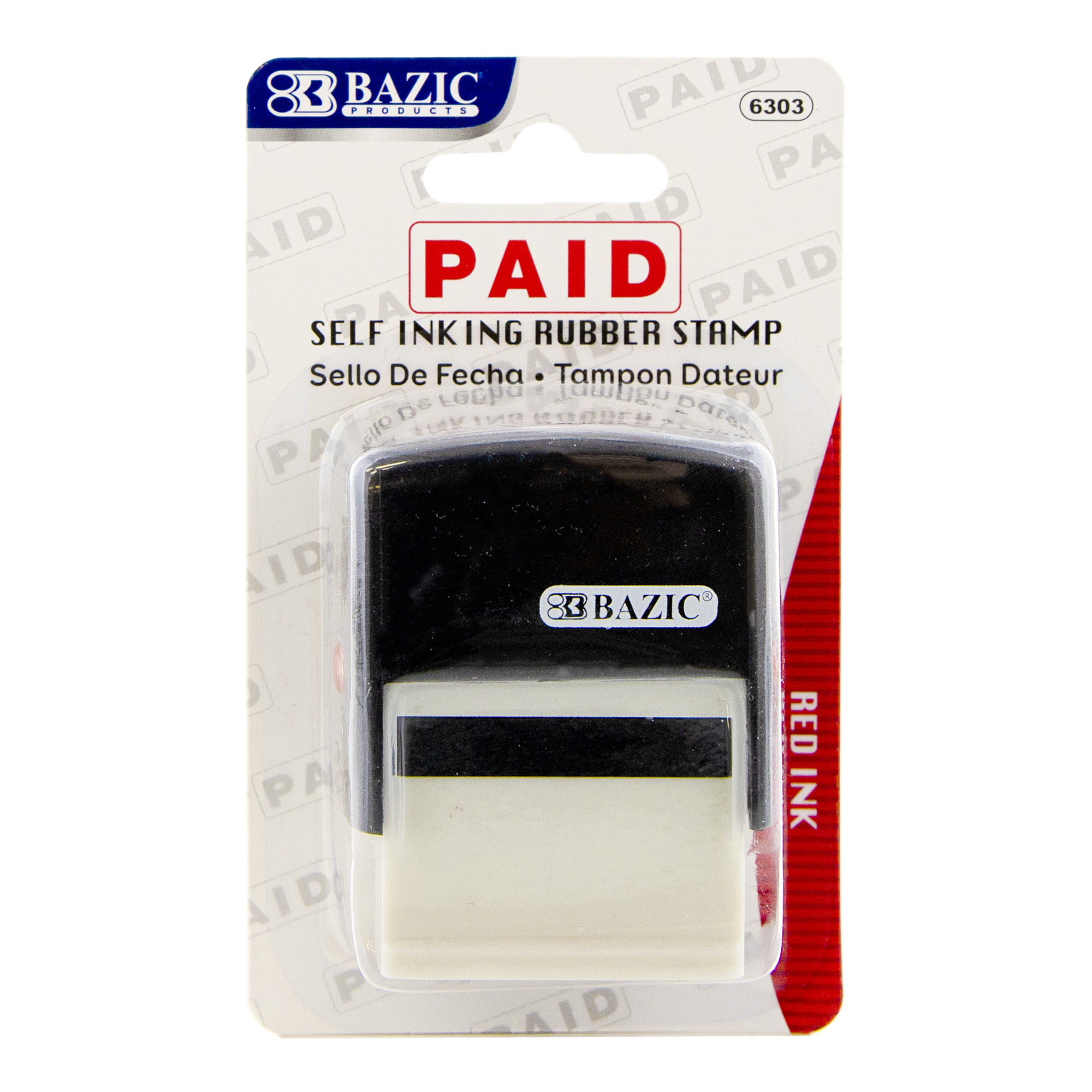 BAZIC Paid Self Inking Rubber Stamp (Red Ink)
