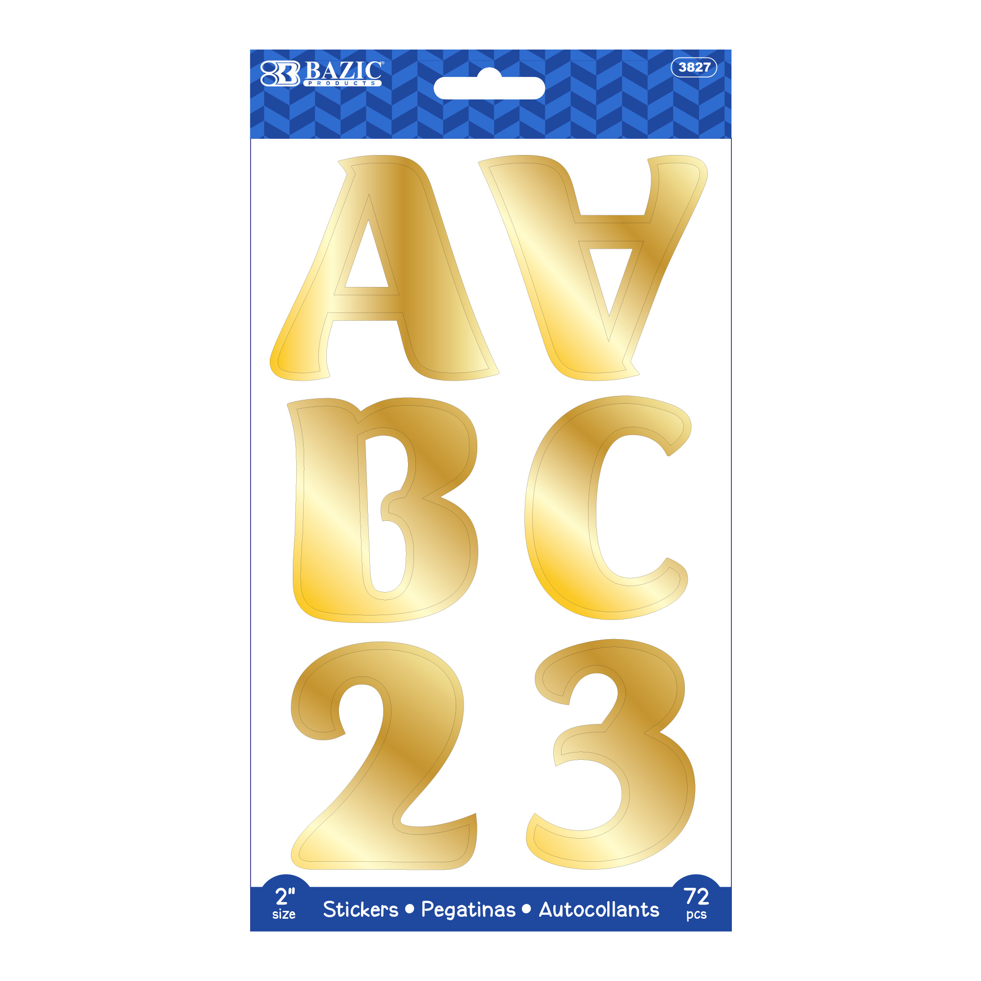 [Stickers] Alphabet & Number 2″ Metallic Gold Color (10 SHEETS)