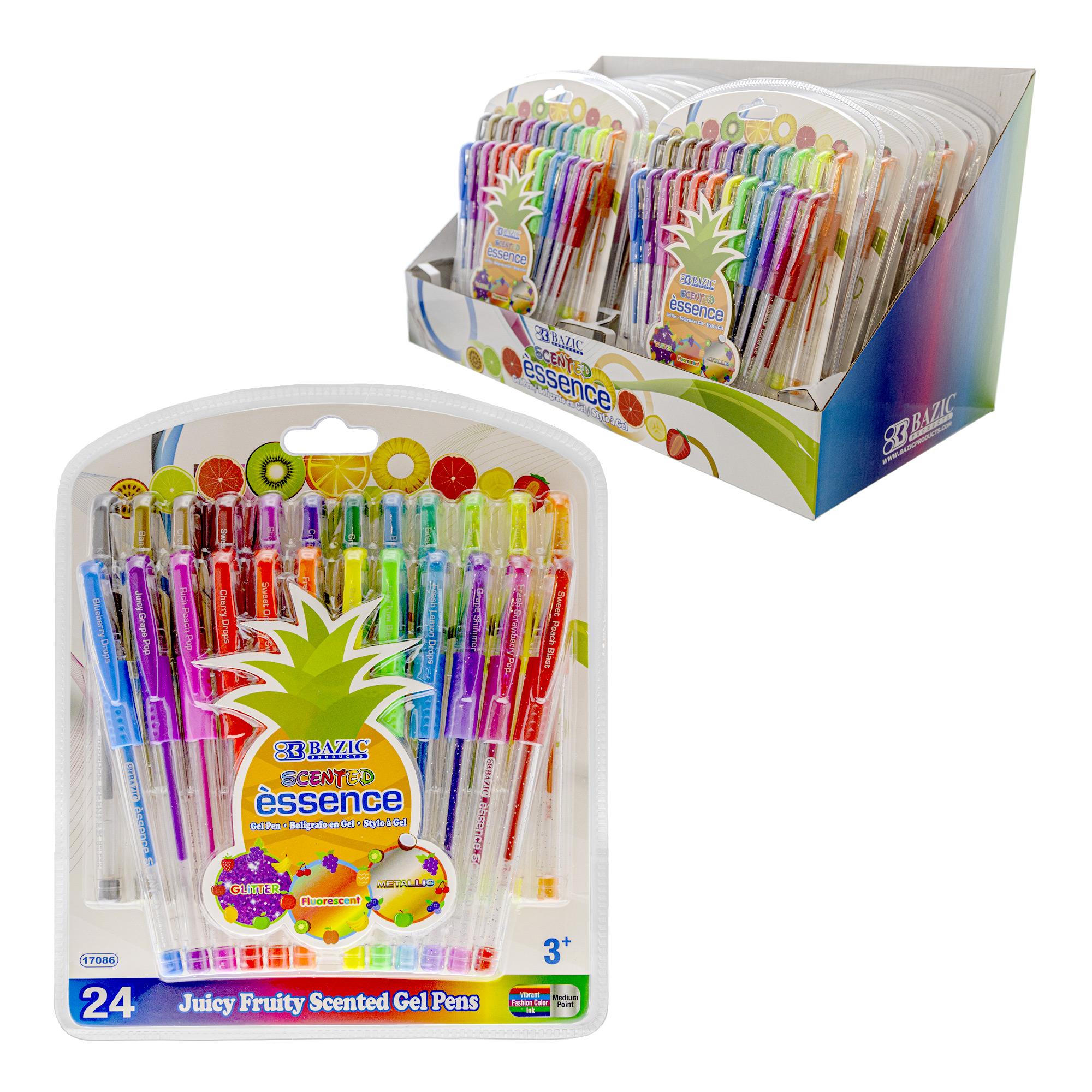 Essence Gel Pen 24 Scented Glitter Neon Metalllic Color w/ Cushion Grip