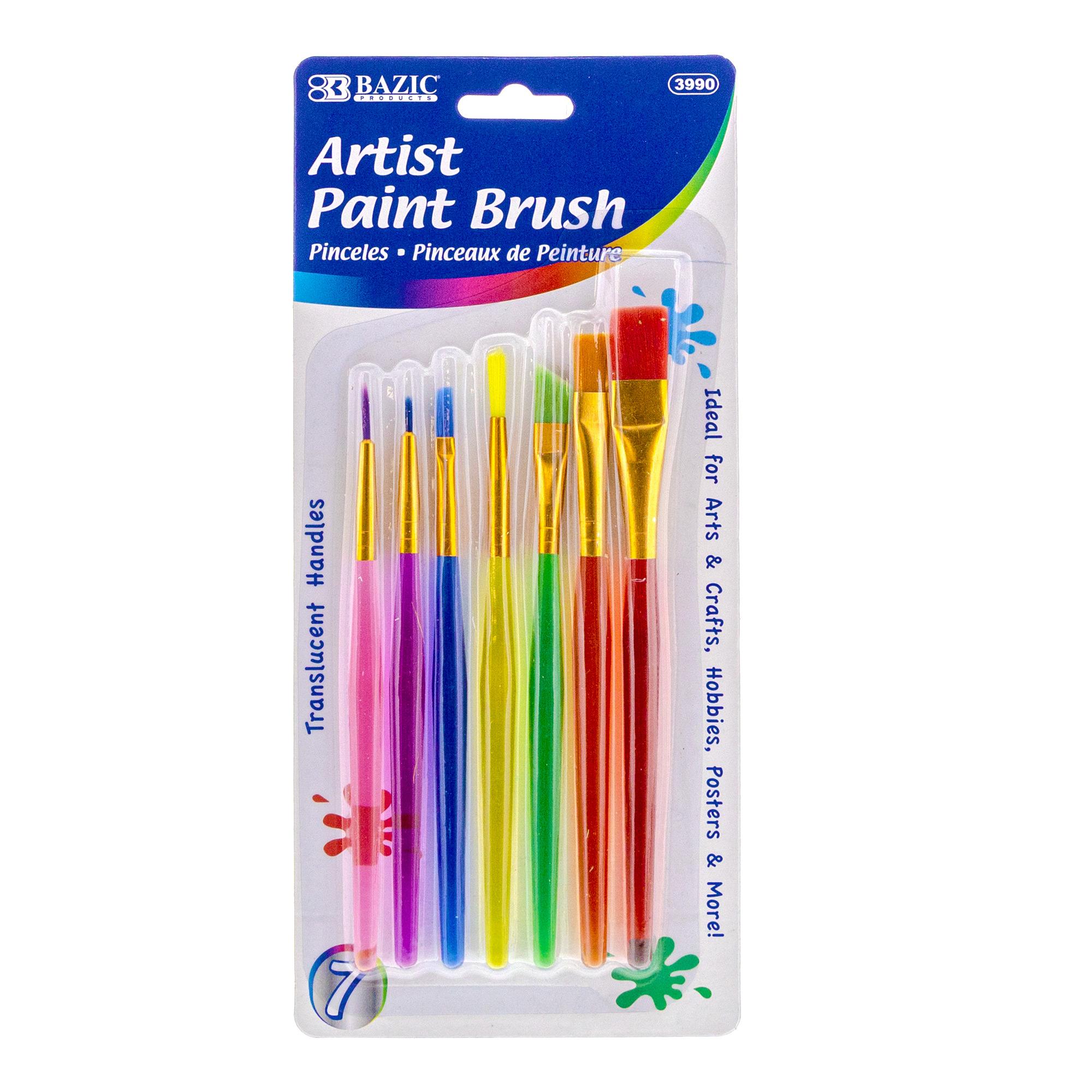 Paint Brush Nylon w/ Translucent Handle set (7/Pack)