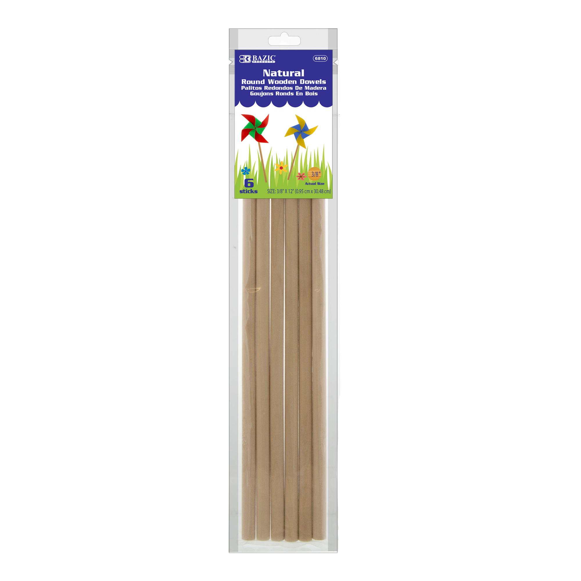 Wooden Dowel Round Natural 3/8″ x 12″ (6/Bag)