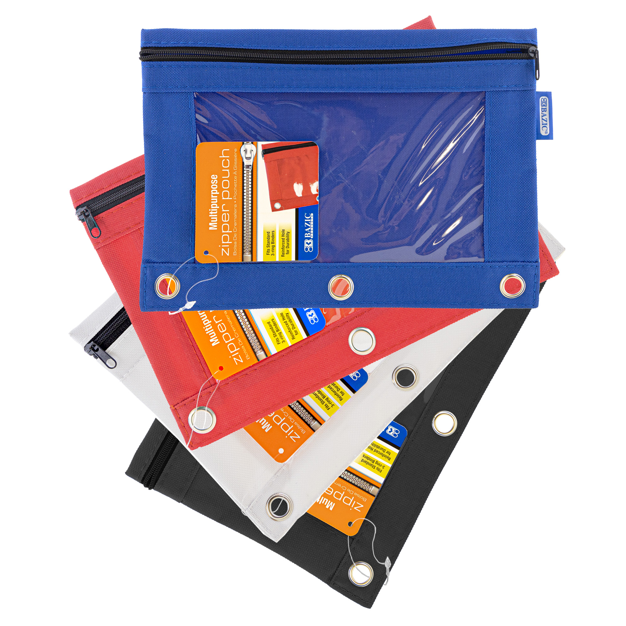 Pencil Pouch 3-Ring Bright Color w/ Clear Window